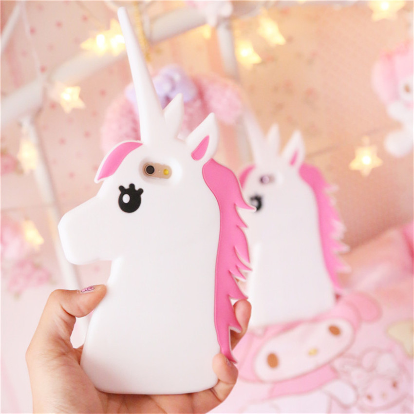 Hot New Fantastic Cartoon Unicorn Horse Soft Silicone Phone Cases Cover For iPhone 7 7Plus 4 4G ...