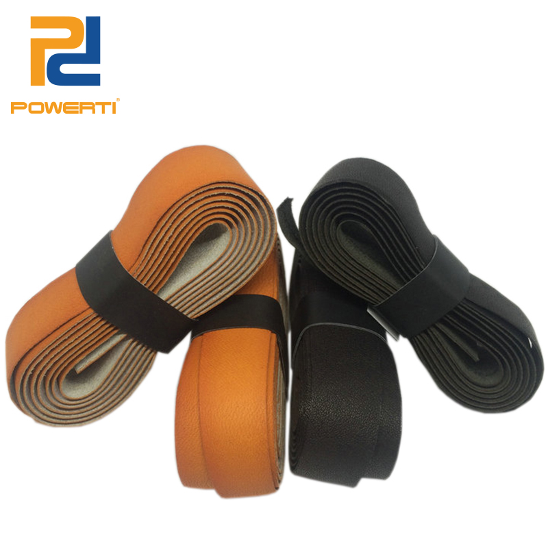POWERTI Cow Leather Sweatband Tennis Racket Overgrip Thick Black Leather Handle Grip for Badminton 2pcs/lot 60 pecs lot zarsia sticky viscous overgrip tennis grip regular badminton grip tennis overgrips tennis product