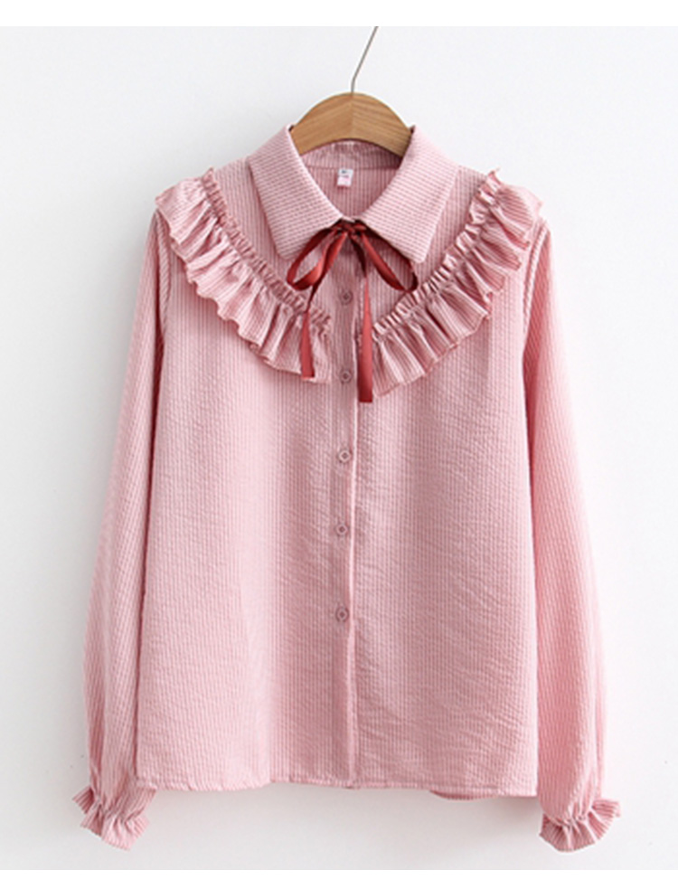 Ruffles Striped Bow Flare Long Sleeve Chiffon Blouse Shirt 6