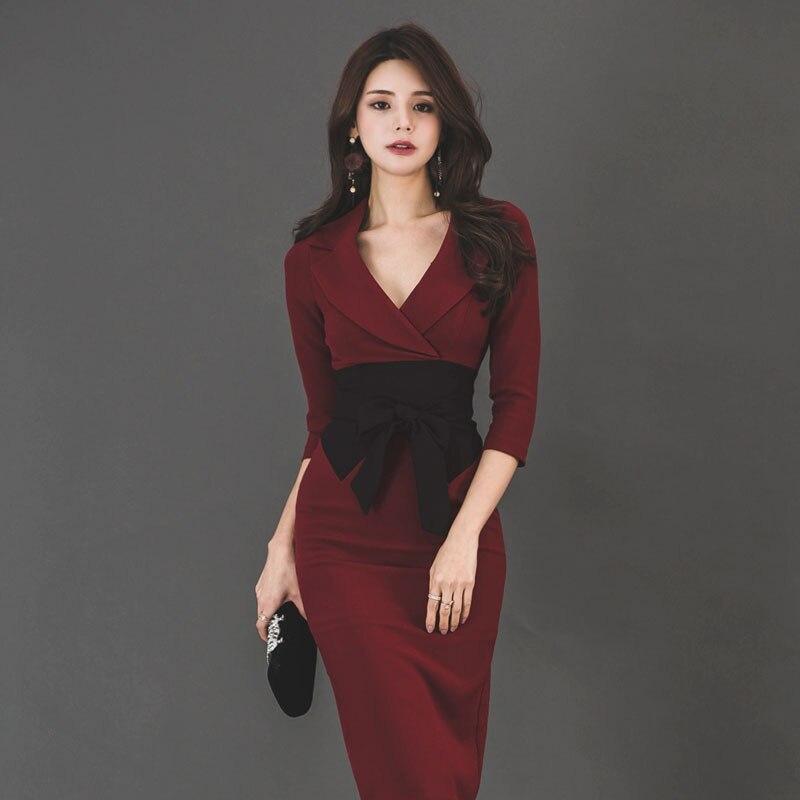 BGTEEVER Sexy V-neck Patchwork Bow Women Dress High Waist Kn