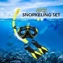 72d329fb0 Anti-vaho gafas de buceo máscara hombres mujeres natación máscara de buceo  Combo Set tubo de Snorkel natación aletas con bolsa