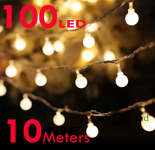 10M 100 LEDs Ball Fairy Lights with 110V / 220V plug in Lights String for Christmas Holiday ...