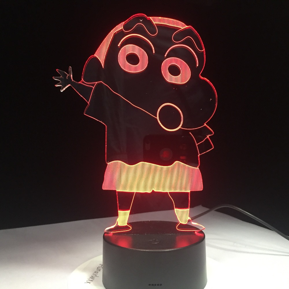 Buy 7 Colors Cartoon Kureyo Crayon Shinchan 3D LED Night Light USB Children Animal Night Light Soft Cartoon Baby Nursery Lamp for only 19.99 USD