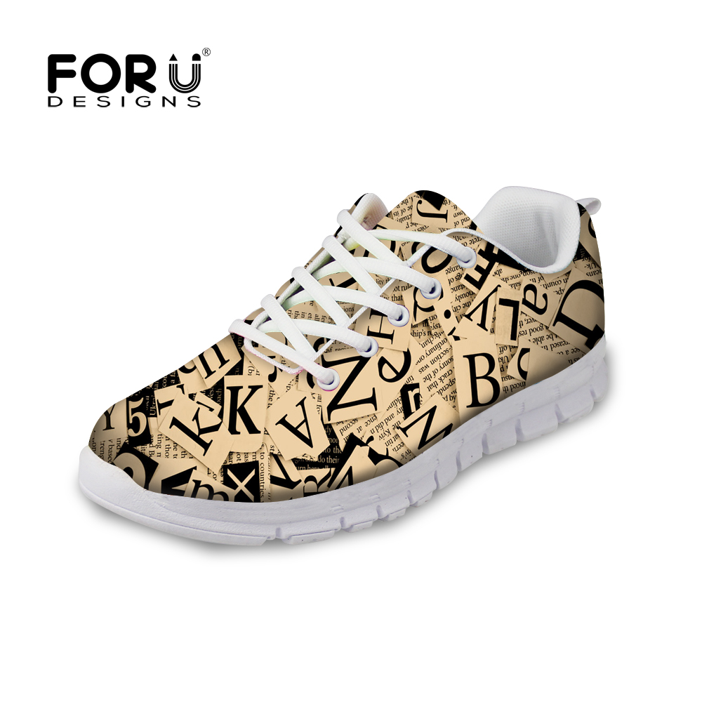 FORUDESIGNS Flats Women Sneakers Fashion 3D Letter Pattern Women Casual Flats Shoes Spring Comfortable Flat Shoes for Lady 2018 instantarts cute glasses cat kitty print women flats shoes fashion comfortable mesh shoes casual spring sneakers for teens girls