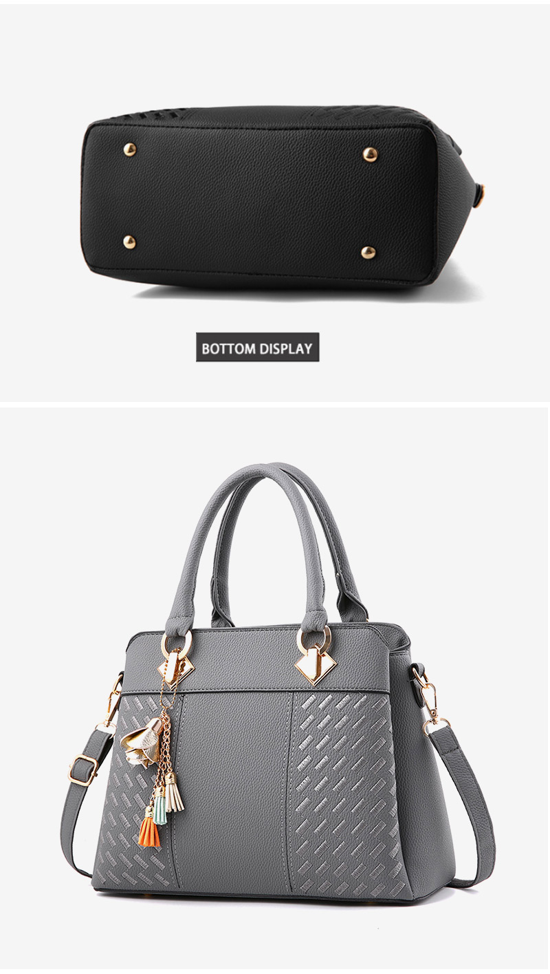 STSR Leather Clutch Bag Female Handbag Luxury Beach Tote Ms. Fringe Shoulder Bag Tote gray one size 17