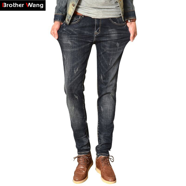 Hot sales Jeans Men 's Four Seasons Deep Gray Stretch Slim Denim Pants Brand men 's straight - type Slim biker jeans plus size