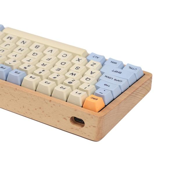 YMDK Hot Swap Fully Programmable 96 Wood Wooden Case Aluminum Plate PCB Stabilizers Support ANSI ISO DIY Kit