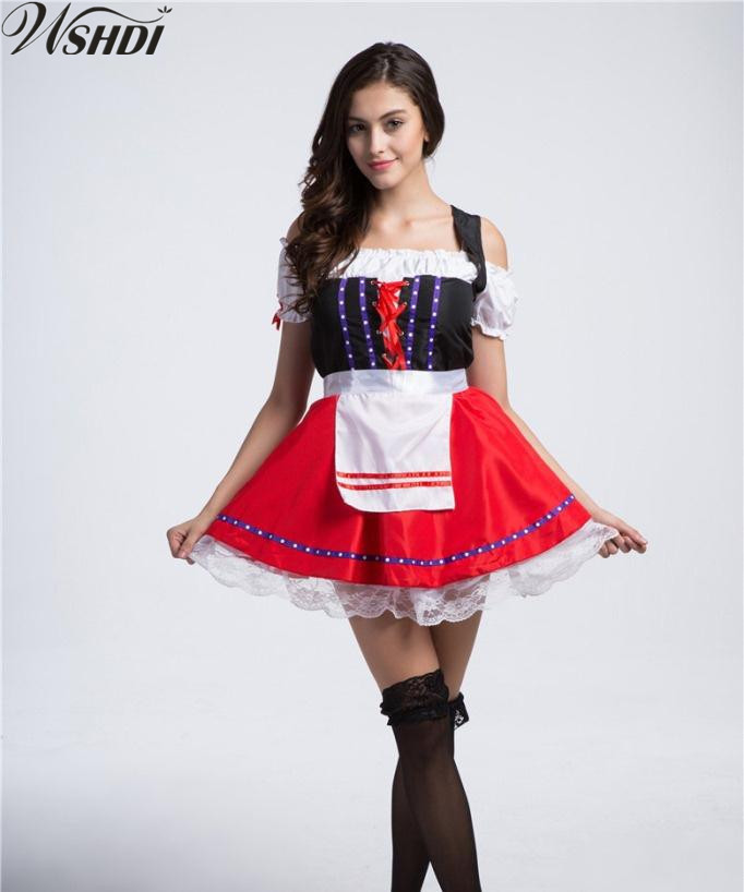 Sexy Beer Maid Costume Beer Girl Wench Costume German Oktoberfest Dirndl Uniform Carnaval October Cosplay Fancy Dress