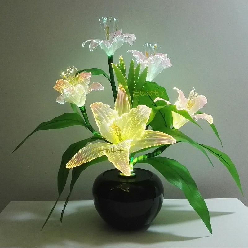 Newest Dynamic Fairy Lily Wedding Decoration Led Novelty Artistic Optical Fiber Flower Christmas New Year Party Shop