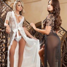 Romantic Luxury Black White Erotic Temptation Perspective Nightgown Sexy Lady Villi Lace Long Nightdress High Quality Slips Robe