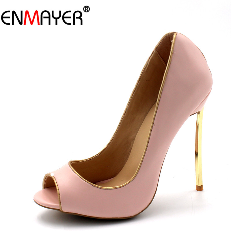 ENMAYER Shallow Pumps Shoes Woman High Heels Plus Size 34-43 Black Pink Red Party Wedding Shoes Ladies Thin Heels Pumps Summer enmayer pointed toe sexy black lace party wedding shoes woman high heels shallow pumps plus size 35 46 thin heels slip on pumps