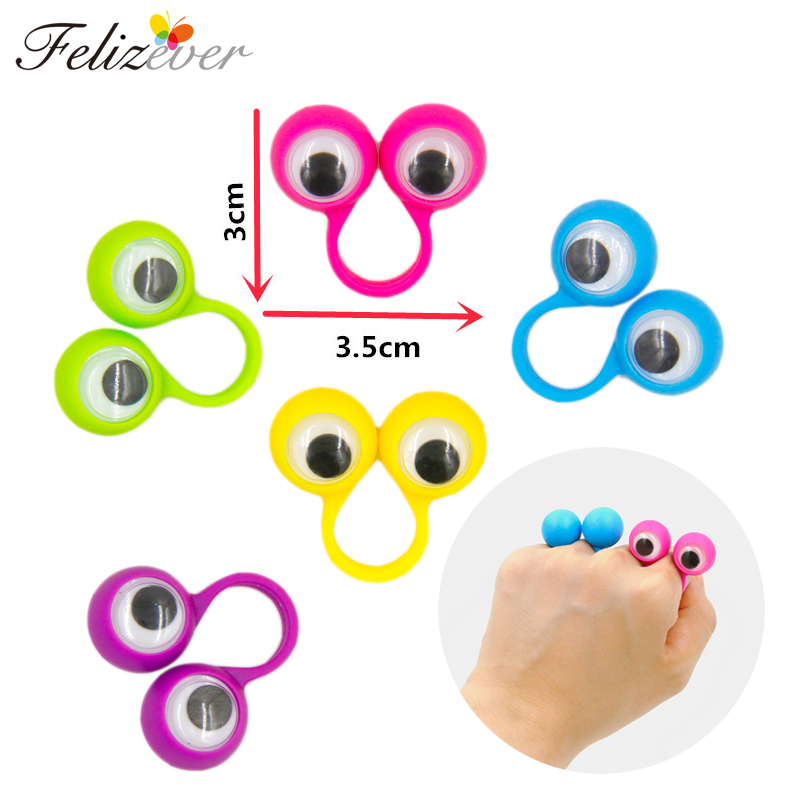 24PCS Eye Finger Dukker Plastic Rings med Wiggle Eyes Party Favors for Kids Assorted Colors Gave Legetøj Pinata Fillers Fødselsdag