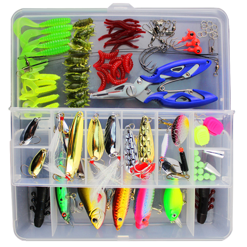 101Pcs Fishing Lure Kit Hard Bait Soft Bait Popper Crankbait VIB Topwater Carp Fishing Lures Fishhook Plier Box Pesca Peche 1pcs 12cm 14g big wobbler fishing lures sea trolling minnow artificial bait carp peche crankbait pesca jerkbait ye 37