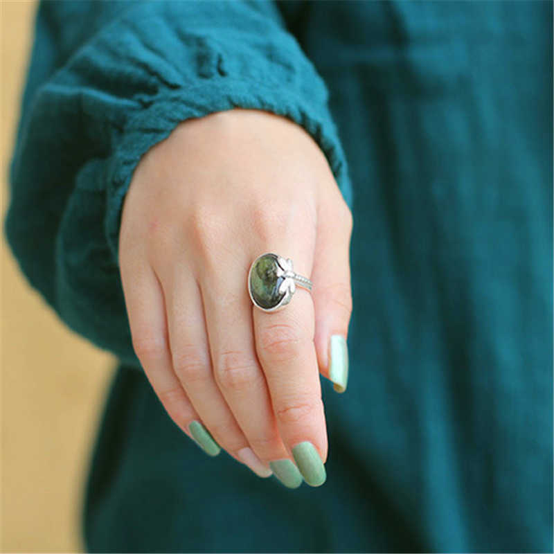 Lotus สนุกจริง 925 เงินสเตอร์ลิงธรรมชาติ Labradorite หิน Handmade Designer Fine เครื่องประดับ VINTAGE สำหรับผู้หญิง