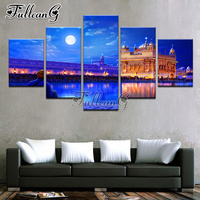 FULLCANG 5PCS Full Square Diamond Embroidery Indian Golden Temple Landscape Diy Diamond Painting Cross Stitch Mosaic Kits G518