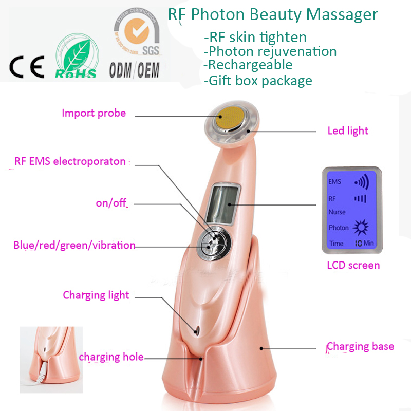 Mini RF Electroporation Mesotherapy Non Surgical EMS Photon Skin Rejuvenation Anti Acne Wrinkle  Removal Facial Beauty Massager anti acne pigment removal photon led light therapy facial beauty salon skin care treatment massager machine