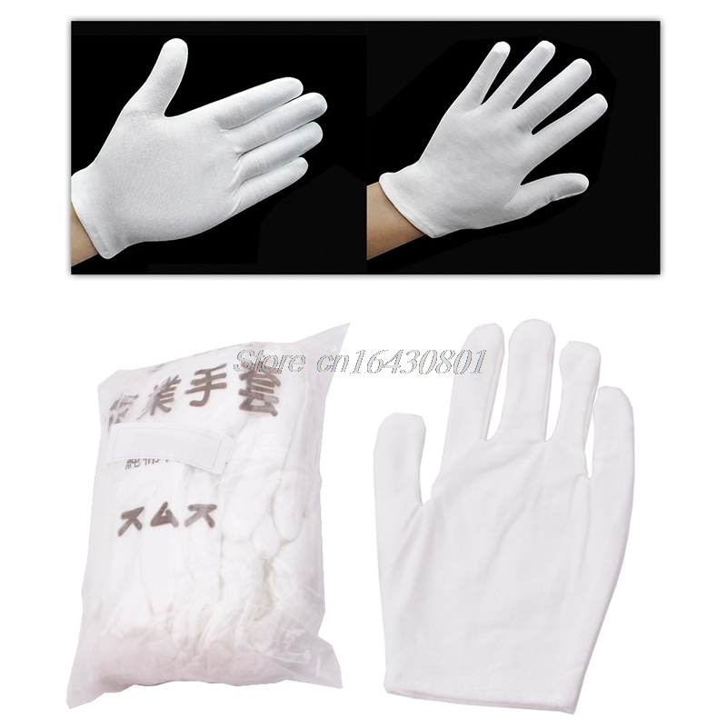 12 Pairs White Inspection Cotton Lisle Work Gloves Lightweight New G08 Drop ship ...