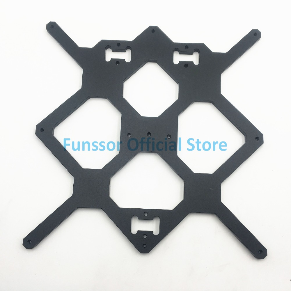 Funssor Black color Reprap Prusa i3 MK3 Aluminium bed support For DIY Prusa i3 3D Printer funssor replacement pei sheet ultem with 200mp adhesive tape for reprap prusa i3 mk2 rework and other size 3d printer