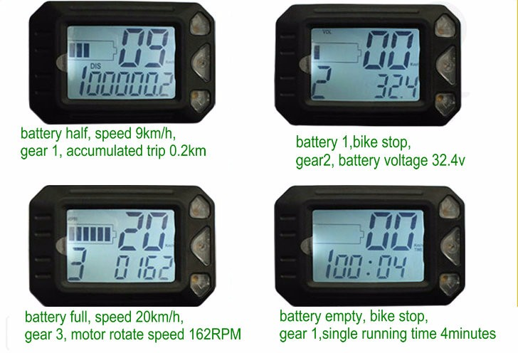 display for scooter with throttle sample working