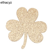 10pcs/lot New St. Patricks Day Pads for Kids Headband Hair Accessories 2019 Glitter Leaf Clover Infantile Girls Headwear Pad