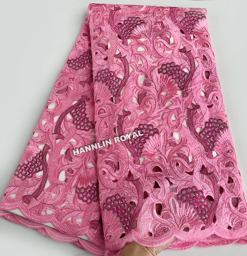5 yards Handcut organza Lace African fabric with big holes stones high quality 6117