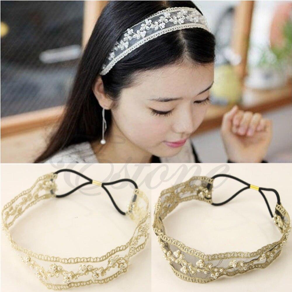 Fashion Womens Lace Faux Pearl Beads Headhand Hairband Elastic Hair Head Band