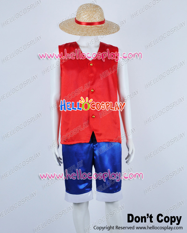 One Piece Cosplay Monkey D Luffy Red Satin Ver Costume H008