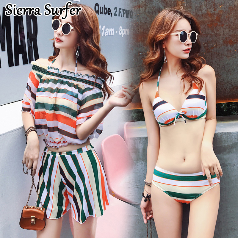 Swimming Suit Women Sexy Swimsuit Biquine Women'S 2018 Push Up Bikini Tops New Underwire Bracket Four Piece Divided Skirt wonshcora new snake skin bikini 2017 sexy triangle two piece swimsuit women s swimming suit sky blue free shipping