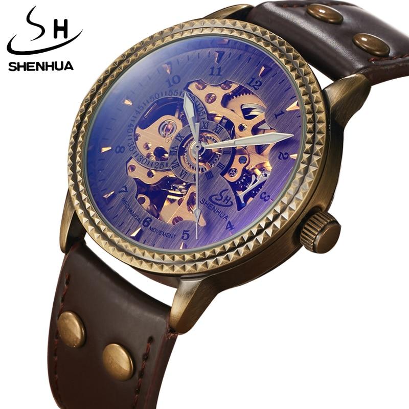 SHENHUA Automatic Mechanical Watch Men Brand Luxury Retro Bronze Case Stainless Steel Skeleton Leather Watch Relogio Mascualino