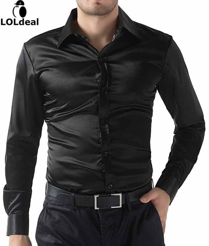 Men's Shirt Shirts Business Casual Buro Sparkle Satin Slimfit Fitted New