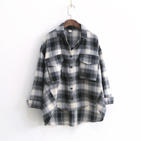 Women Plaid Shirt Checked Long Sleeve Casual Loose Fit Oversize Cotton Shirts Red Black White Plaids