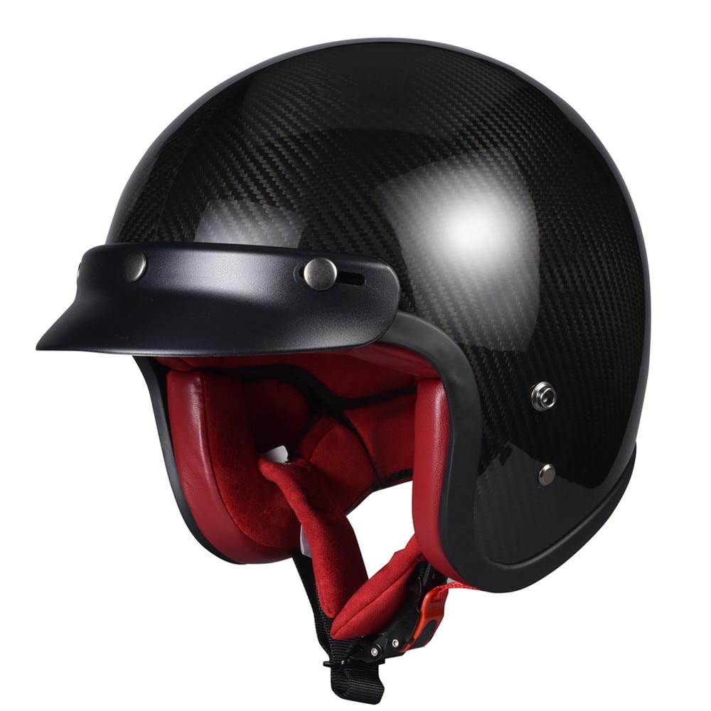 Vcoros Carbon Fiber Retro Motocycle Helmet with Quick Released Buckle Woman Man Vintage Harley HelmetVcoros Carbon Fiber Retro Motocycle Helmet with Quick Released Buckle Woman Man Vintage Harley Helmet