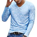 Mens Long Sleeve tshirt Fashion 2016 Spring Slim Fitness Causal t-shirt Round Neck Cotton Linen Tee Shirts Male Tops Streetwear