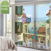 Customized non-adhesive electrostatic glass film bathroom matte stickers balcony sunscreen window coastal city