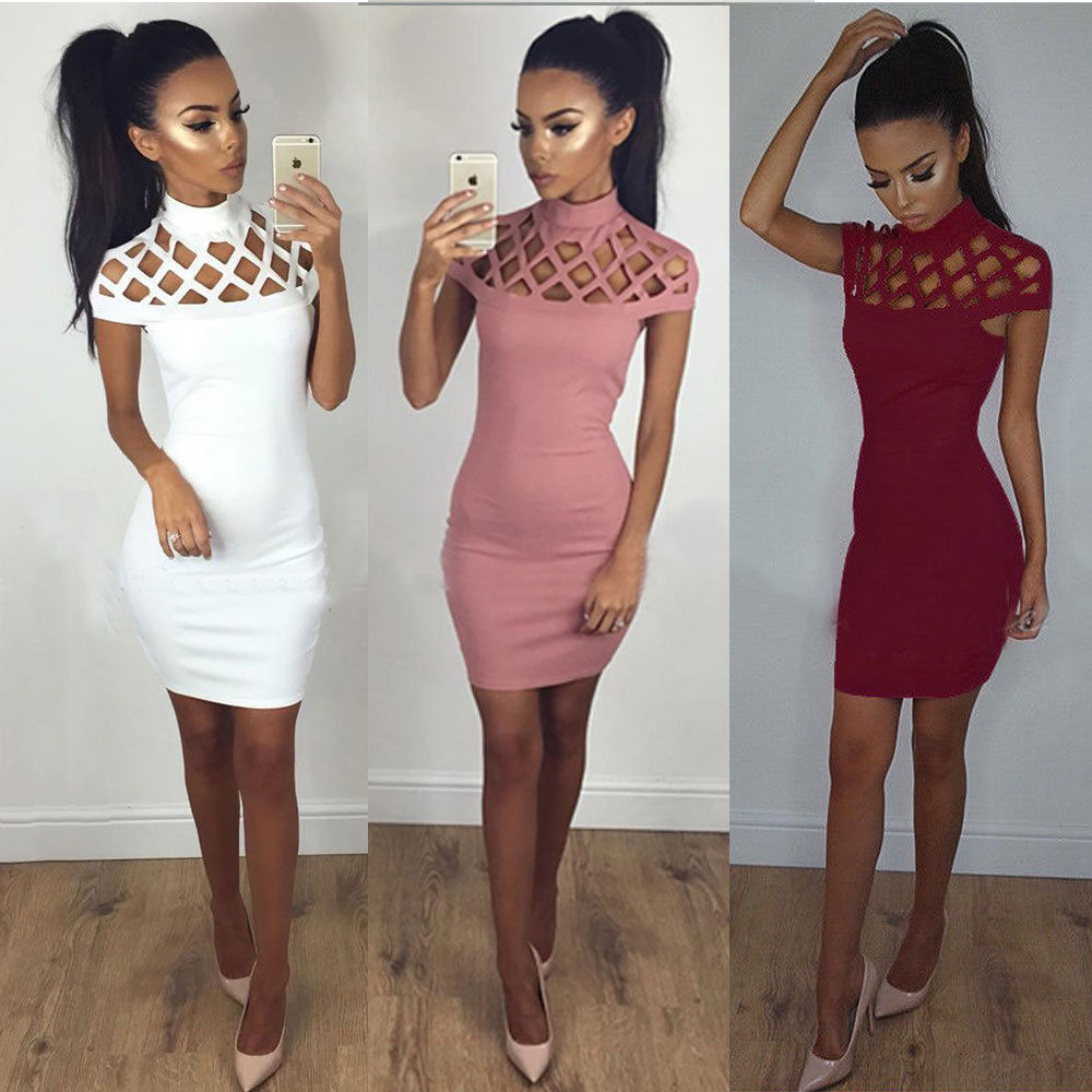 HTB16YwDbcjI8KJjSsppq6xbyVXaS - 2017 New Mess Hollow Out dress Autumn Winter 5 Color Turtleneck Solid Short Sleeve Mini Dresses