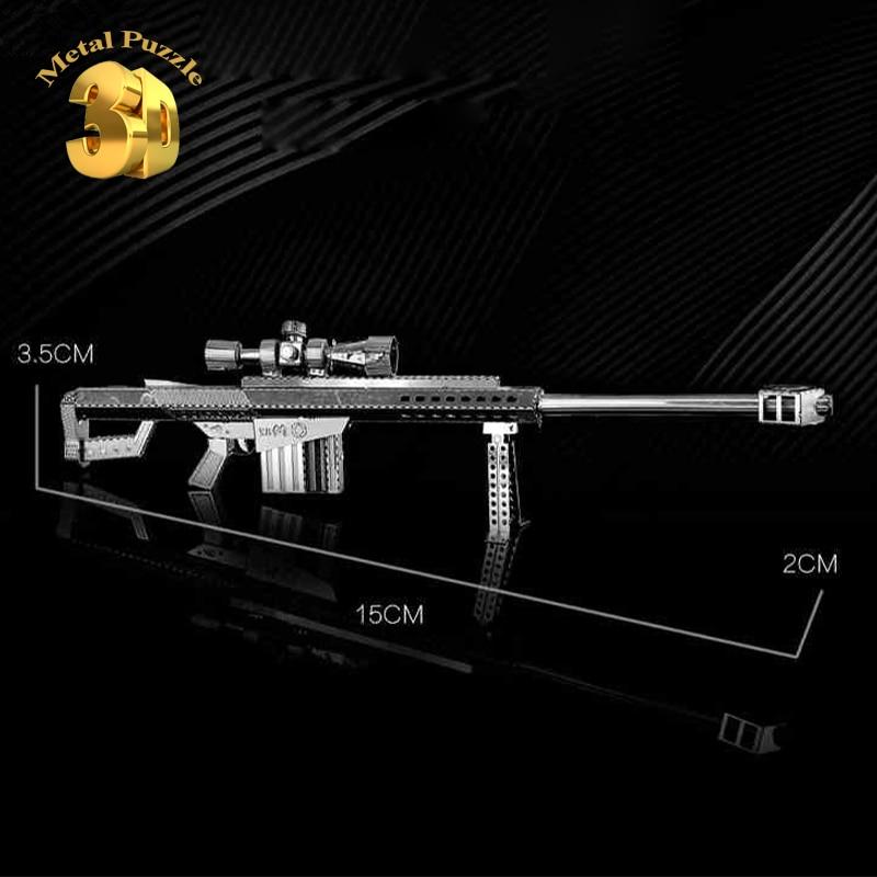 3d metal puzzle diy gun model jigsaw barrett sniper rifle sasr 3.5*15*2cm...