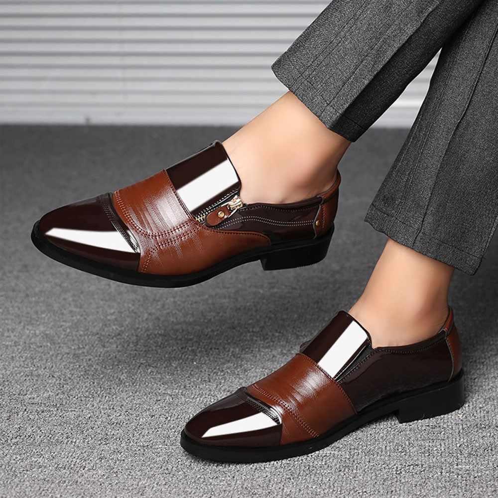 Sagace formal masculino sapatos de negócios couro apontado marca de luxo 2019 dos homens deslizamento em sapatos de negócios casuais condução