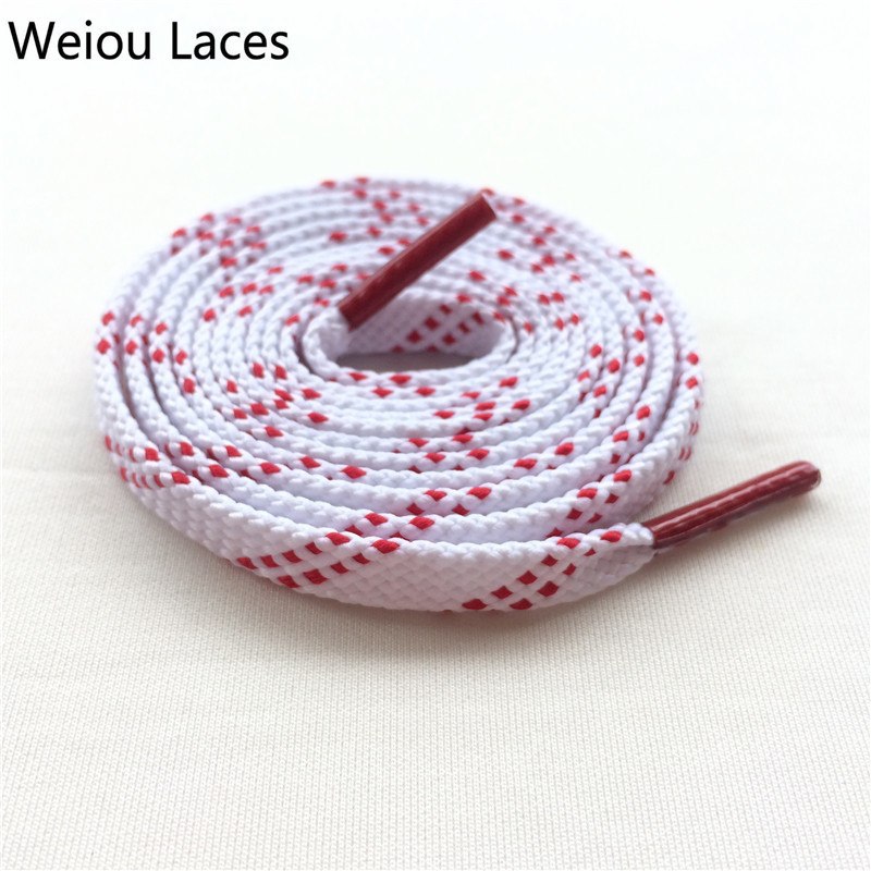 Brand Weiou New White Red Flat Tublar Sports Shoelaces With Red Tips Fashion Athletic Shoestrings Cleaning Football Boot Laces vsen 2x 47 glitter flat coloured shoelaces boot laces sport dance red