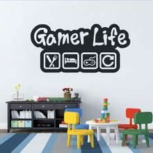 Gamer Life Wall Sticker Video Game Controller Wall Decal Eat Sleep Game Wall Art Mural Kids Room Decor Vinyl Wall Poster AY1210