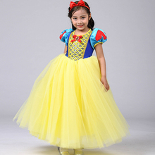 2pcs/Set Snow White Princess Dress Tutu Tulle Fairy Tale Cosplay Cute Kids Girls Halloween Costume
