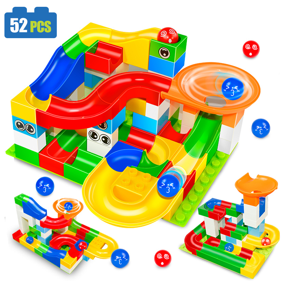 52pcs DIY Colorful Race Run Track Balls Rolling Track Building Blocks Toy For Children Christmas Gift Compatible legoe duplo Toy colorful pineapple ru bun lock children puzzle toy building blocks