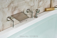 Newly Wall Mount Tub Faucet Set Bathroom Nickle Brushed Mixer Tap W Hand Shower Sprayer Modern