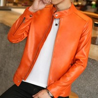 Hot Sale New Fashion Top Quality Chic Mens Pu Leather Jacket Casual Slim Fit Coats Boys
