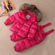 Высокое качество марка детская зимняя одежда набор мальчики девочки пуховик теплый свет хлопок брюки продажи