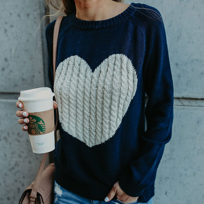 18 new winter white knitted sweater Women lantern sleeve loose gray pullover female Soft warm autumn casual love heart jumper 8
