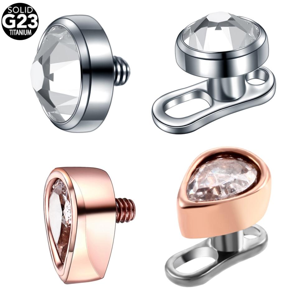 Piercing dermal g23 titaniuim, piercing em aço 316l com pedra redonda, micro piercing dermal para superfície, mergulhador de pele