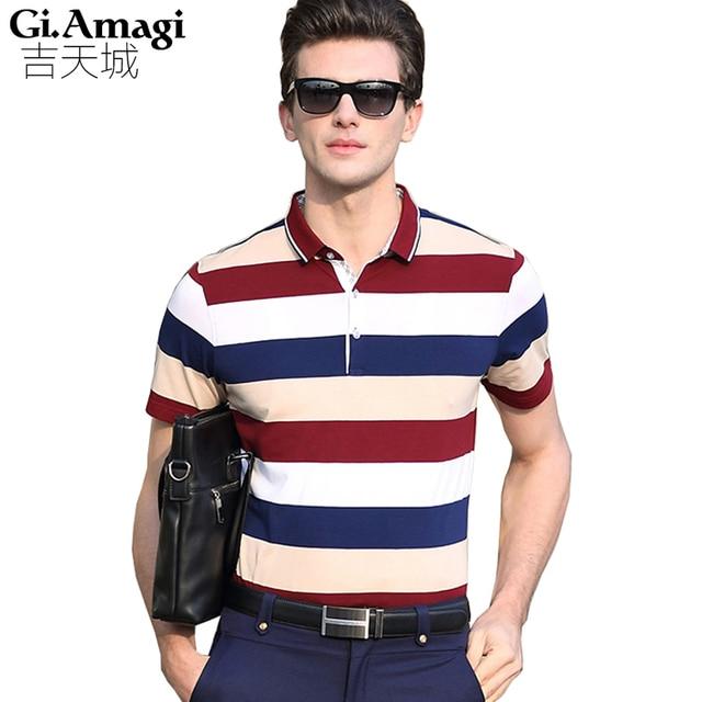 2016 Summer Strip 3 colors Men Polo Shirt Turn-down Collar Casual Cotton Polo Shirt Red Blue Green Asian Size M-3XL NYP023