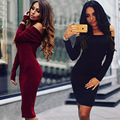 Brand New 2016 Autumn Winter Dress Vintage Sexy Casual Wine Red Black Elegance Dress Bodycon Dress Women Party Dresses Vestidos