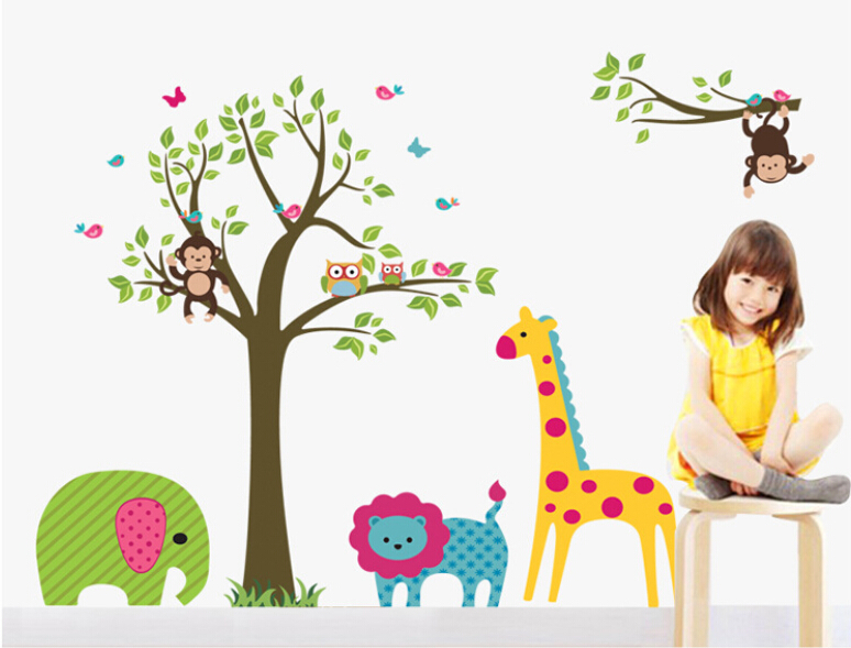 Online Shop Kids Bedroom Sticker Wallpaper Wall Stickers Living Room Wall  Decals Giraffe Elephant Monkey Home Decoration Wall Art DIY | Aliexpress  Mobile