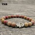 YNB 8mm Rhodochrosite Bracelets with Bergamot, 2016 Trendy Elasticity Bracelets for Women, Unisex Nature Stone Jewelry Men Gift